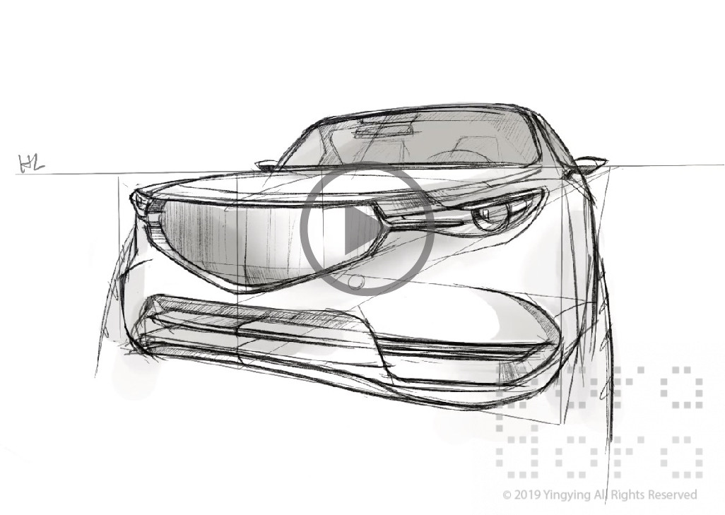 Car Sketch Front View Foreshortening